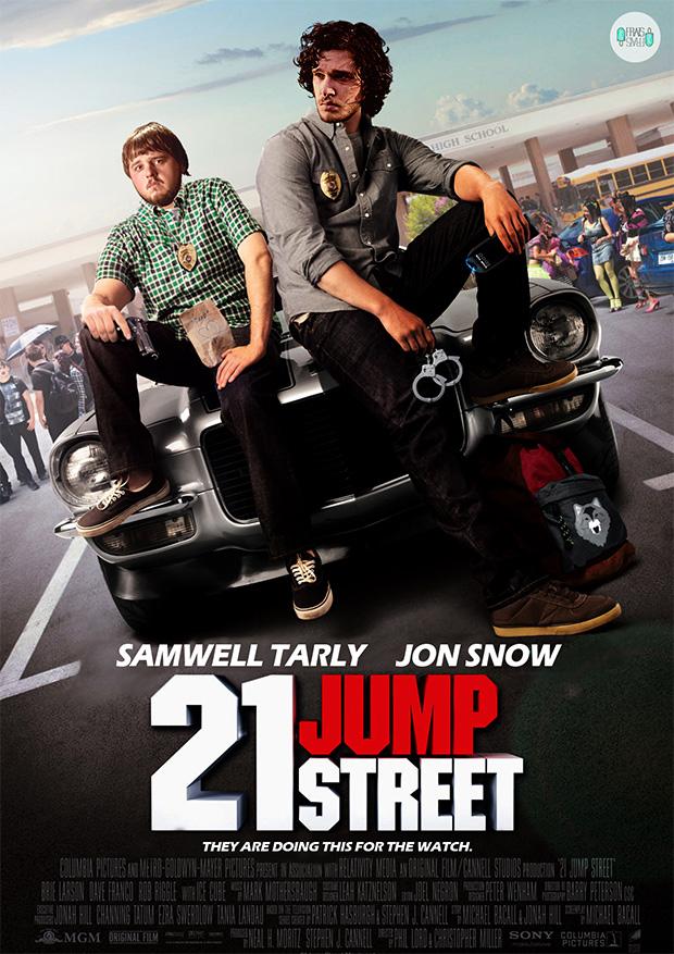Jon Snow and Samwell Tarly in 21 Jump St