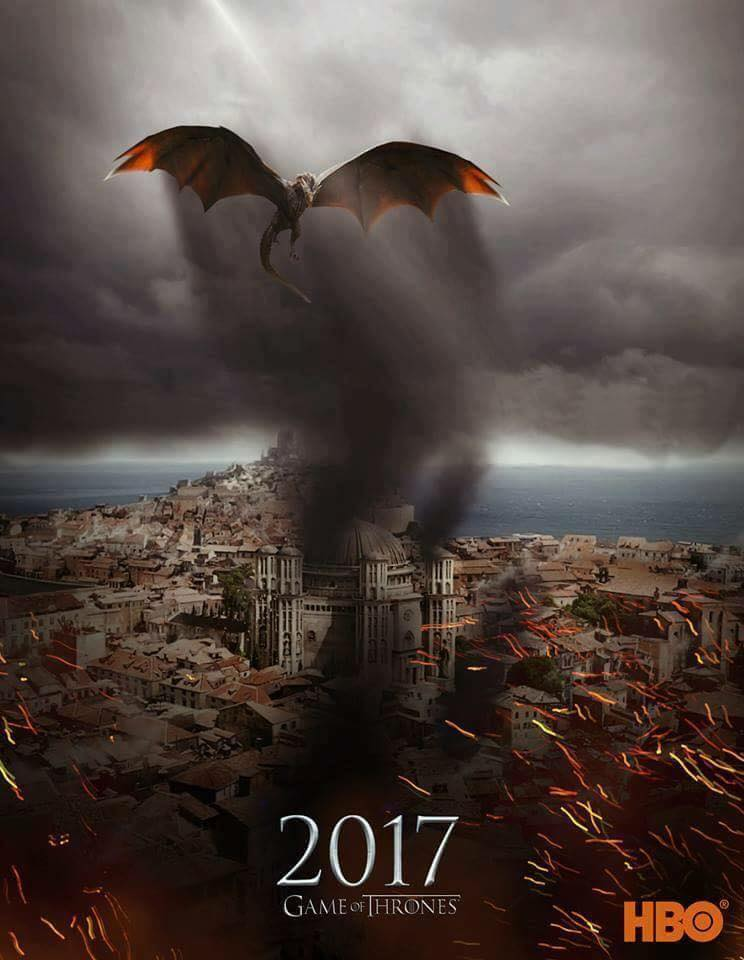Drogon Kings Landing - GoT Season 7 Fan Poster